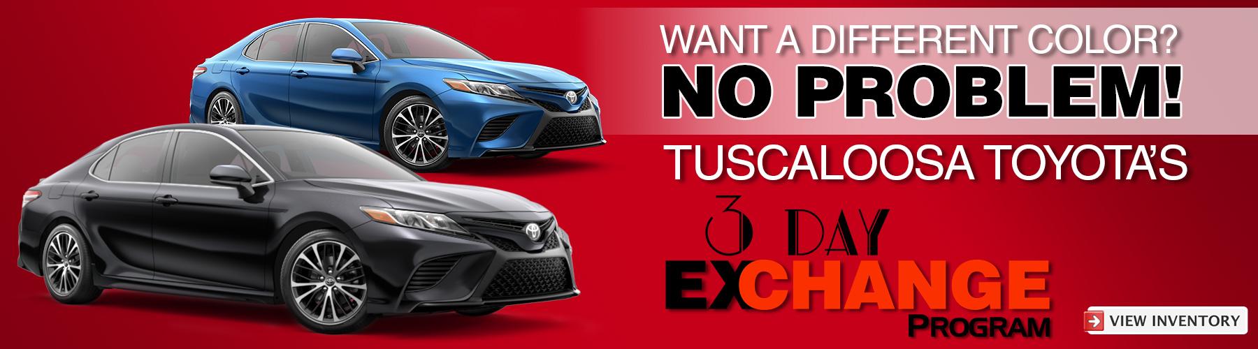 3 Day Exchange Program Available at Tuscaloosa Toyota in Tuscaloosa, AL